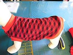 画像1: 春夏用 赤と黒の斜め格子のワンコ服
